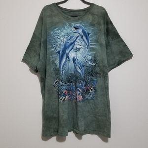 The Mountain Tie Dye Dolphin Novelty Green Shirt